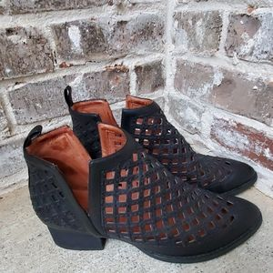 Jeffrey Campbell Black Leather Caged Ankle Booties